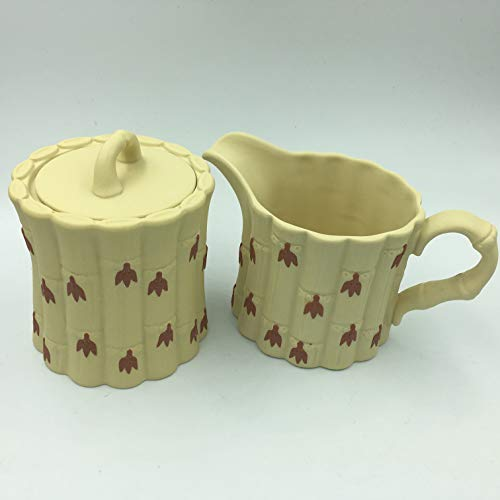 Wedgwood Primrose Terracotta Jasper Bamboo Sugar Bowl Lid & Ceamer Set
