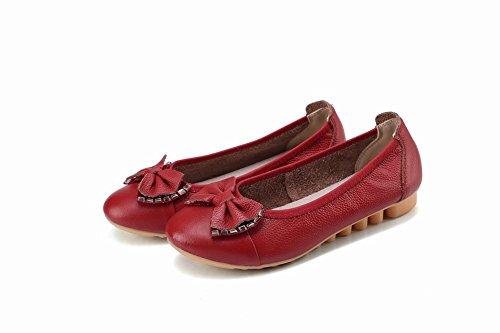 Carolbar Women's Sweet Lovely Rhinestonse Flat Bow Spring Court Shoes Wine Red 571g4Ndlp