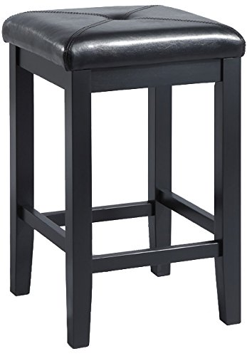 Crosley Furniture Upholstered Square Seat 24-inch Bar Stool - Black (Set of 2) (Square Stool Chair)