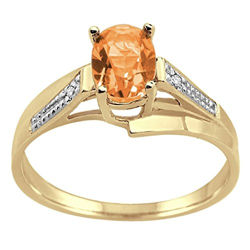 Oval Citrine and Diamond Wave Ring in 10K Yellow - Gold Diamond Wave Ring