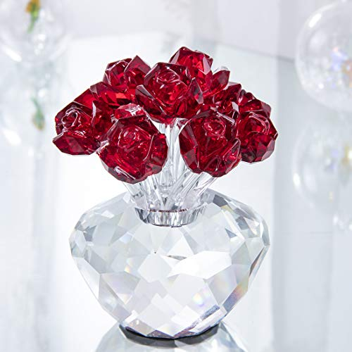 - H&D Red Crystal Rose Flower Glass Rose Paperweight Figurine Collectible Statue Wedding Table Centerpiece Ornament