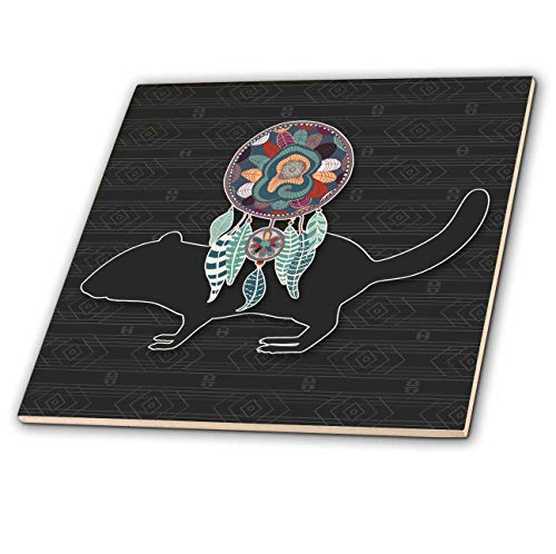 - 3dRose Doreen Erhardt Native American - Dream Catcher with a Beaver in a Native American Tribal Design - 6 Inch Glass Tile (ct_304646_6)