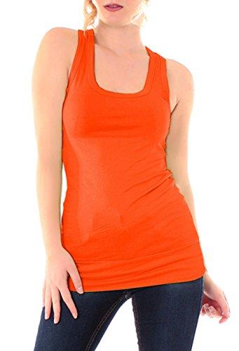 Easy Young Fashion, collezione: Basic - Canotta da donna, taglia unica Orange Taglia unica