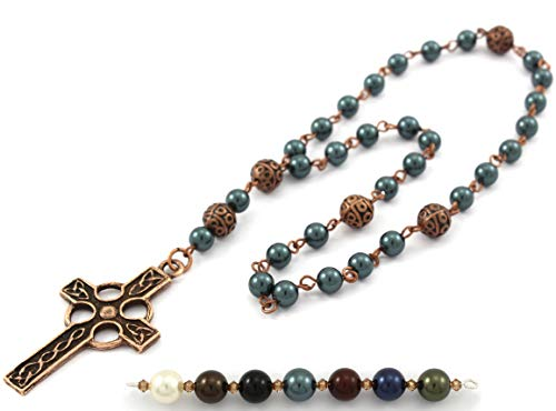 - Anglican Prayer Beads with Teal Swarovski Pearls and Celtic Cross in Antique Copper. Anglican Rosary, Pearl Prayer Beads, Custom Rosary