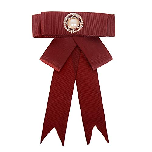 Lots Style Rhinestone Crystal Bow Tie Ribbon Brooch Pins for Women Jewelry (StyleID - #05 Wine red Four-Leaf Pearl)