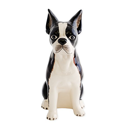 Boston Terrier Shaped Ceramic Stoneware Hand Painted Coin Bank