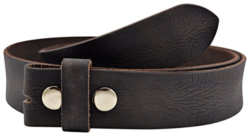 Vintage Full Grain Buffalo Leather Solid 1-Piece Belt Strap - Black- by TheBeltShoppe.com - Buffalo Buckle