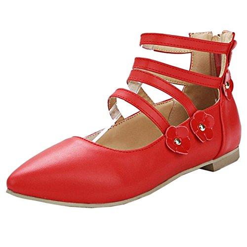 COOLCEPT Mujer Moda Gladiator Plano Bombas Zapatos Hija Colegio Zapatos con Flor Extra Tamano Rojo