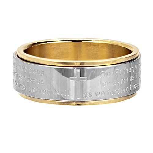 Design Tribal Spinner Steel Ring (Tribal Hollywood Lord's Prayer Spinner Ring In Stainless Steel With Gold Pvd)
