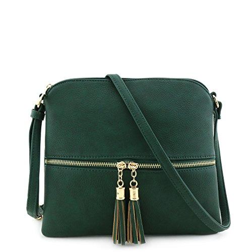 Lightweight Medium Crossbody Bag with Tassel Olive
