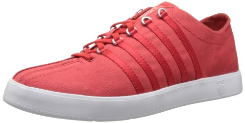 K-Swiss Women's The Classic Lite T Lace-Up Fashion Sneaker,Poppy Red/White/Salmon,9.5 M US