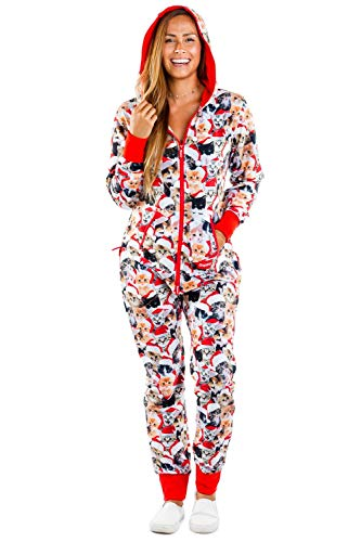 Meowy Catmus Ugly Christmas Sweater Party Jumpsuit - Adult Christmas Cat Onesie: Small