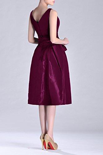 Formelle D'une Ligne De Thé Longueur Sans Bretelles V-cou Plissé Raisin Robe De Demoiselle D'honneur En Taffetas Violet