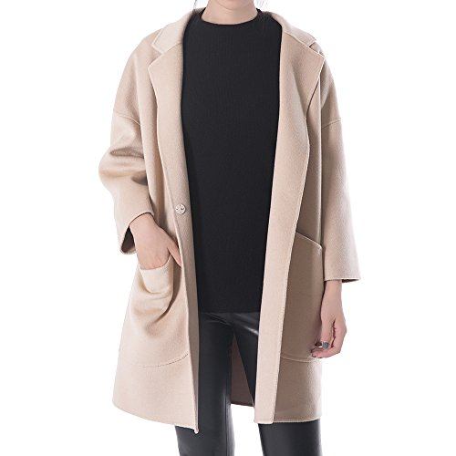 OYEAHGIRL Women's Notched Lapel Trench Coat Blended Outwear Overcoat Big Pockets (S, Apricot) - Boiled Wool Coat