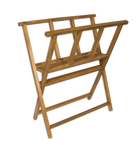 Creative Mark Folding Wood Large Print Rack - Perfect for Display of Canvas, Art, Prints, Panels, Posters, Art Gallery Shows, Storage Rack - [Walnut Stain Finish]