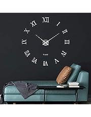 SOLEDI Reloj de Pared 3D, DIY Reloj de Etiqueta de Pared Decoraci¨®n Ideal para la Casa Oficina Hotel Restaurante, llenado Pared Vac¨ªa 3D Reloj (Plata)