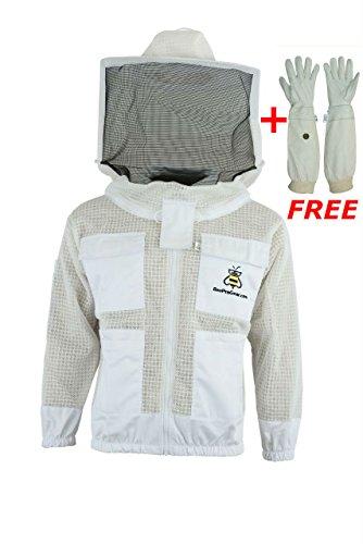 (Bee Suits 3 Layer Safety Unisex White Fabric Mesh Beekeeping Jacket Beekeeping Veil Bee Protective Clothing Beekeeping Protective Ventilated Bee Round Veil (3XL))