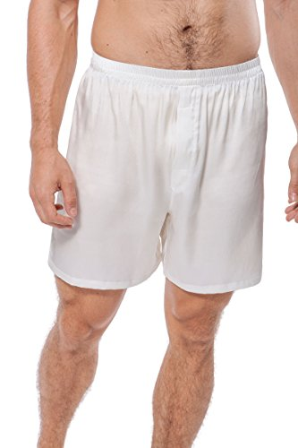 Her Boxer Shorts - Men's Silk Boxers Underwear Summer Winter Gifts Men's 0120-Natural White-Small