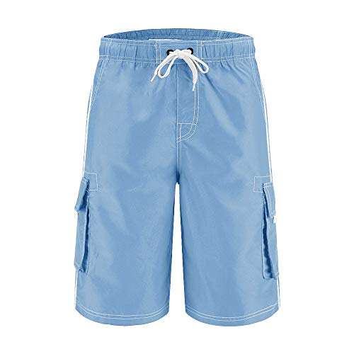 Wohthops Men's Quick Dry Swim Trunks Side Stripe Bathing Suit Board Shorts with Mesh Lining Cargo Pockets