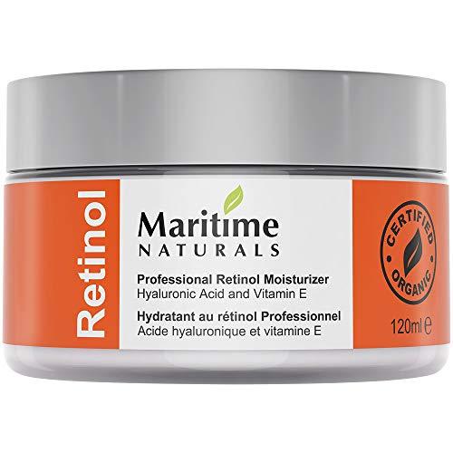 Canada's Premium Retinol Moisturizer for Face -HUGE 120ml - Hyaluronic acid and vitamin A - super anti aging skin cream - Professional Grade-Cruelty Free - Organic-Face Lift in a Jar By Maritime Naturals