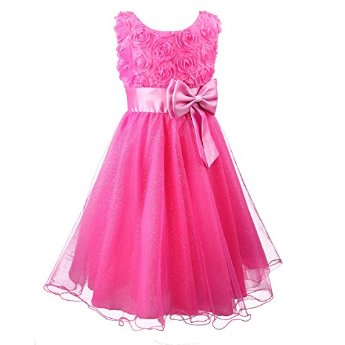 Acecharming Little Girls' Flower Formal Wedding Bridesmaid Party Dress (L(6)(5-6years), Rose red)