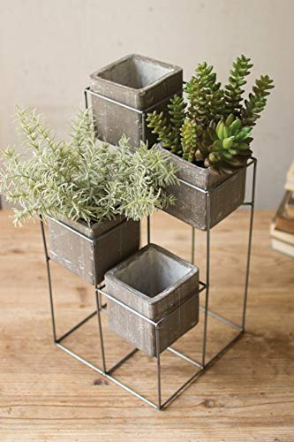 - Kalalou Tower with Four Square Planters One Size Gray