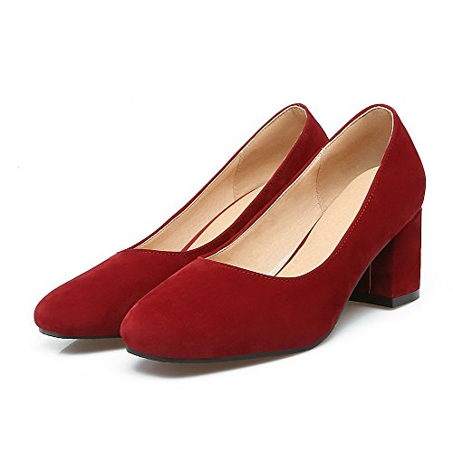 Heels Women's Shoes Red Kitten Pull Frosted On WeiPoot Pumps Solid Toe Square YSnBxqRRf