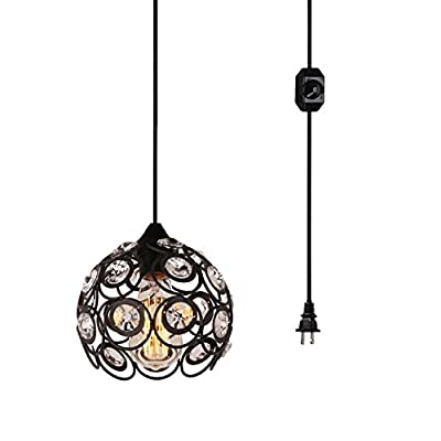 Surpars House Plug-in Crystal Pendant Light with 15' Cord, Dimmer Switch in Cord, 1-Light, Black