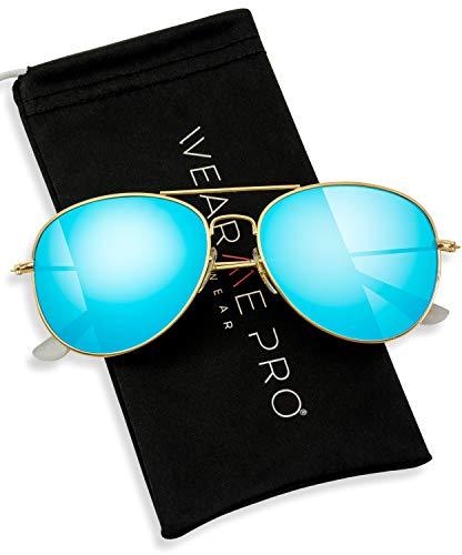 WearMe Pro - Polarized Metal Frame Pilot Style Aviator Sunglasses (Gold Frame/Mirror Blue Lens, ()