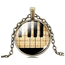 Jewelry Women Fashion Piano Keyboard Picture Pendant Time Gem Statement Necklace Christmas Gift