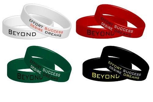 4 Pulseras de fitness Beyond Dreams | Pulseras elásticas de silicona Motivación Poder | Juego de pulseras elásticas de colores
