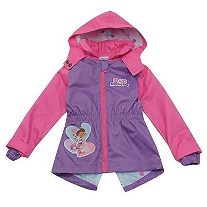 Chica de espaldas en ropa chaqueta Mickey Mouse Doc en Inglés de cremallera con capucha para