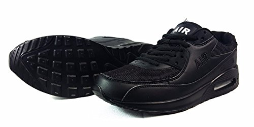 B-Creative Mens Running Trainers Casual Lace Gym Walking Boys Sports Shoes Ladies Boys Size (Black 6-11 UK) E5ZRGf