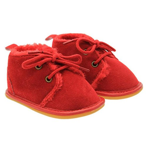 Highdas Baby Winter Warme Gummisohle Prewalkers Schuhe plus Samt Kleinkind Stiefel Schuhe Rot