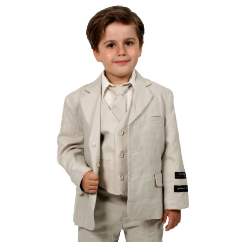 JL5026 NATURAL Cotton/Linen Boys Summer Suit From Baby to Teen (14) Fully Lined Linen Suit