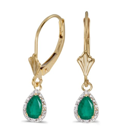 14k Yellow Gold Pear Emerald And Diamond Leverback Earrings ()