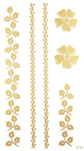 Moda impermeable oro flores y Streak tatuaje pegatinas para ...