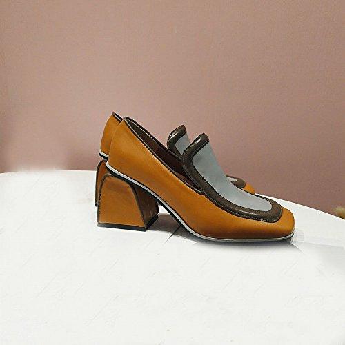 Zapatos de Tacón Bajo de Primavera Literaria Simple Cuadrado de Boca Baja Solo Zapatos Femeninos segundo