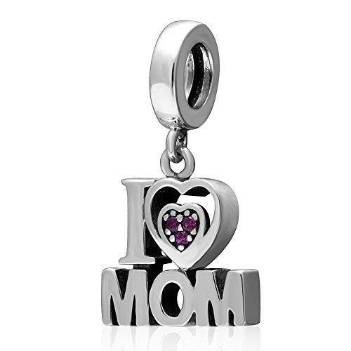 925 Sterling Silver I Love Mom Charm Love Charm Thanksgiving Charm Valentine Charm fit for Pandoar Bracelet (I Love Mom)