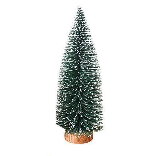 Tinksky 25cm Mini Frosted Tabletop Christmas Pine Tree with Wood Base Christmas Home Party Decoration Ornaments Christmas Gift (Tree Tinsel Diy Christmas)