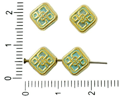 16pcs Gold Tone Turquoise Blue Patina Flat Rhombus Square Celtic Keltic Celtik Knot Node Beads Two Sided Bohemian Metal Findings 9mm x 3mm Czech Findings And Charms 36749