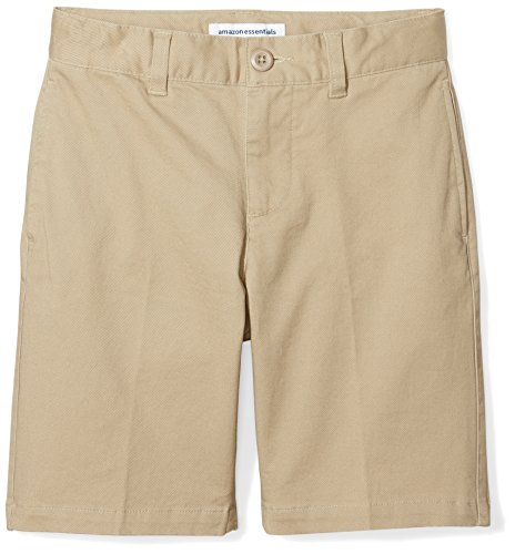 Boys Flat Front Shorts - Amazon Essentials Big Boys' Flat Front Uniform Chino Short, Khaki,8