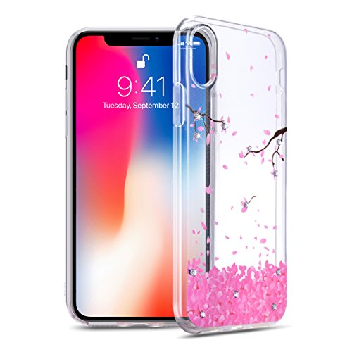 iPhone X Case, iPhone 10 Transparent Sleek Slim Armor Scratch Resistant Protective Mobile Soft Cover Full-body Bumper for Apple iPhoneX - Deluxe Edition Rhinestones Soft ()
