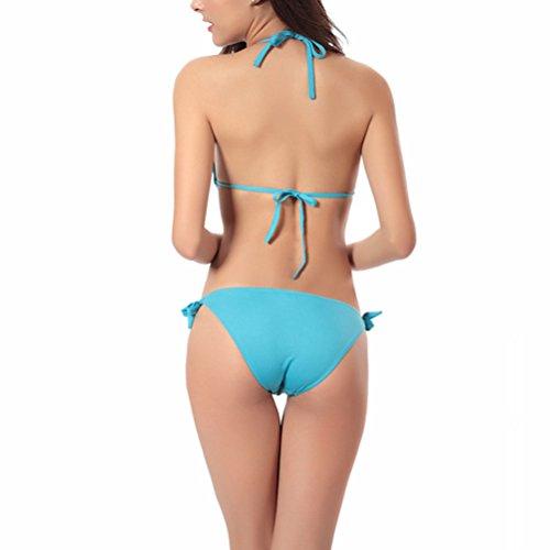 Zhuhaitf Alta calidad Vintage Womens Temptation Halterneck Bikini Athletic Swimwear Swimsuit Lake Blue