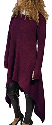 IF FEEL Loong Sleeves Casual Irregular Cowl Neckm BlouseTop For Women ((US 14-16)XL, Purple)