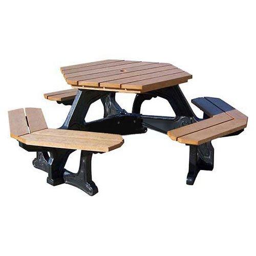 Econo-Mizer Plaza Hexagon Table, Weathered Top/Black Frame