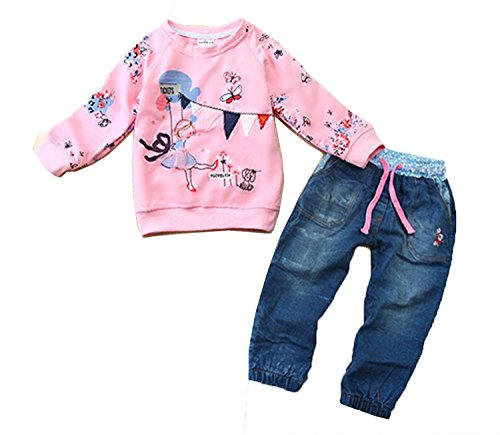 3 Piece Denim Outfit (Baby Kids Girls Cute Pattern Pink Sweatshirt and Jeans 2-piece Outfit 3-4Years Pink)