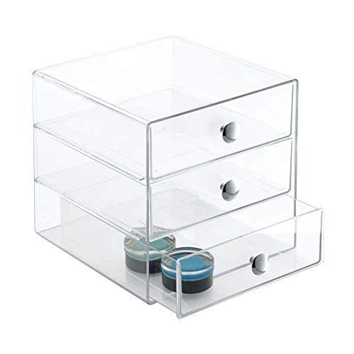 "iDesign 3-Drawer Plastic Vanity Organizer, Compact Storage Organization Set for Dental Supplies, Hair Care, Bathroom, Office, Dorm, Desk, Countertop, Office, 6.5"" x 6.5"" x 6.5"", Clear"