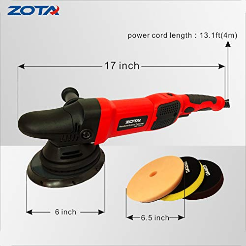 ZOTA Polisher, 21mm Long-Throw Upgraded Random Orbital Polisher,6.5'' Dual Action Car Buffer kit with 3 Professional Pad and 13' Cord by ZOTA (Image #2)