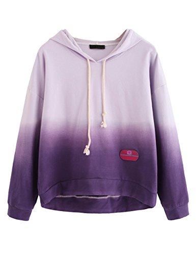 SweatyRocks Women's Long Sleeve Hoodie Sweatshirt Colorblock Tie Dye Print Pullover Shirt Blouse (X-Large, Tie Dye_Purple)
